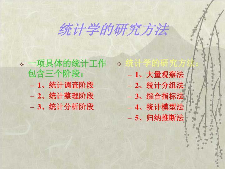 一项具体的统计工作包含三个阶段:
