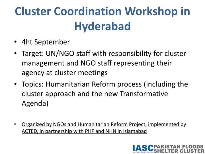 Cluster Coordination Workshop in Hyderabad