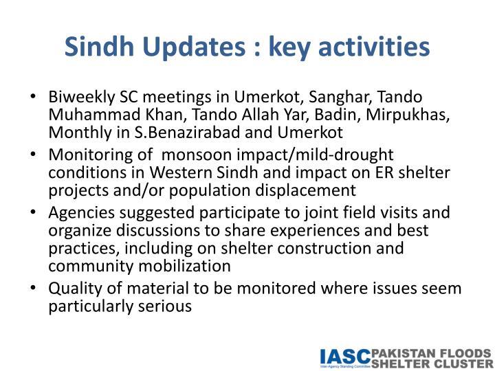 Sindh Updates : key activities