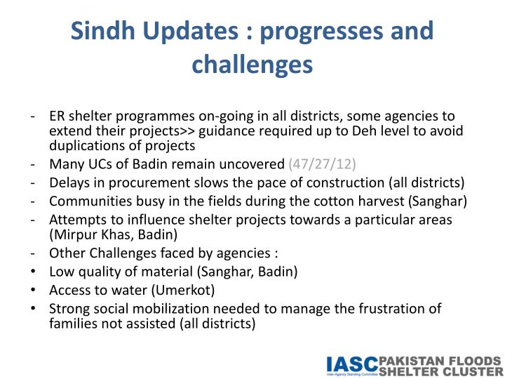 Sindh Updates : progresses and challenges
