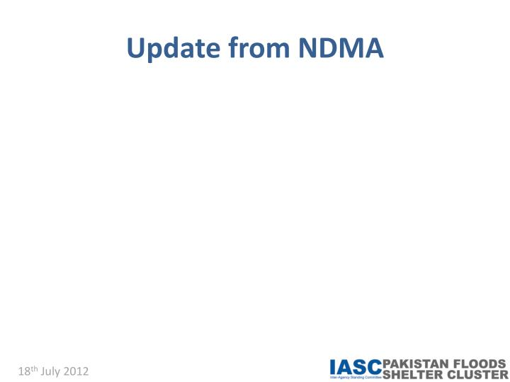 Update from NDMA