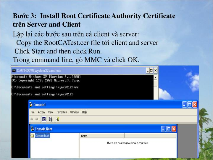Bước 3:  Install Root Certificate Authority Certificate