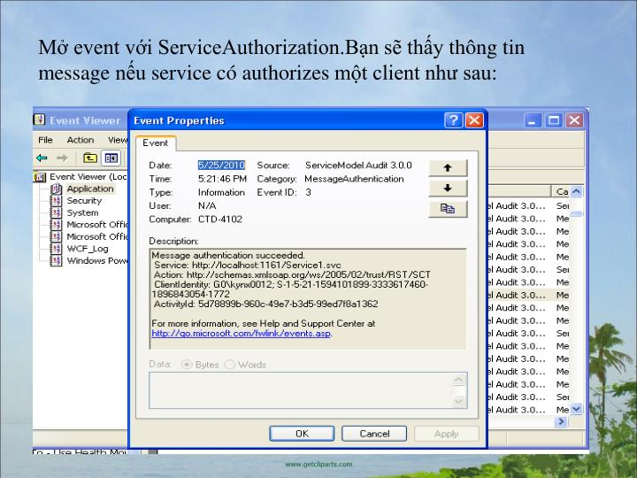 M event viServiceAuthorization.Bn s thythng tin messagenuservicec authorizesmtclient nh sau: