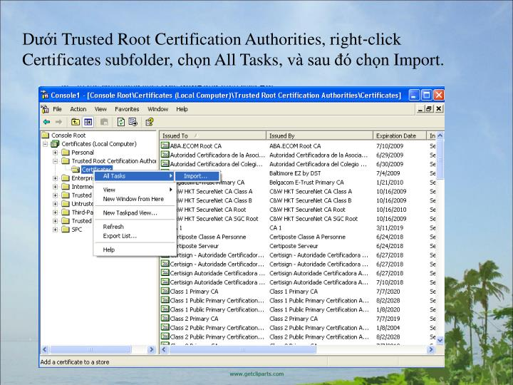 DiTrustedRootCertificationAuthorities,rightclick