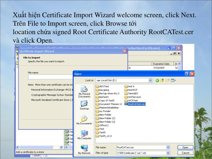 Xut hinCertificateImportWizardwelcomescreen,clickNext.