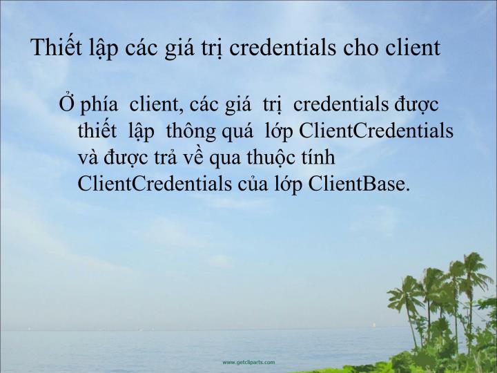 Thit lp cc gi tr credentials cho client