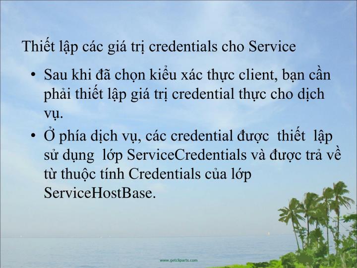 Thit lp cc gi tr credentials cho Service