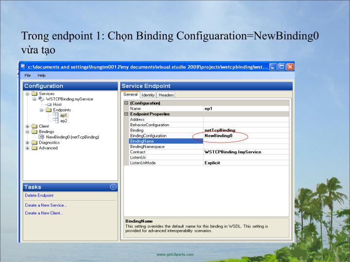 Trong endpoint 1: Chn Binding Configuaration=NewBinding0 va to