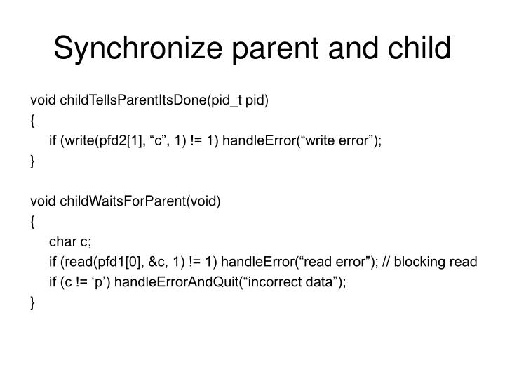 Synchronize parent and child