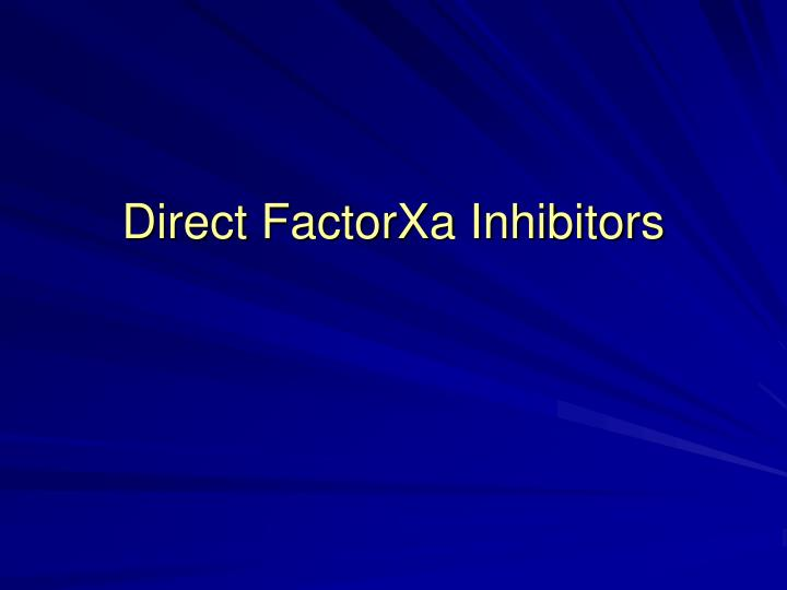 Direct FactorXa Inhibitors