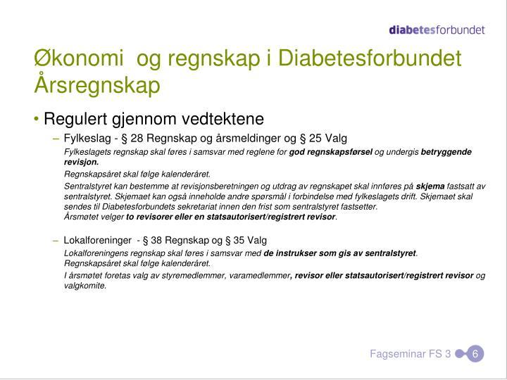 Økonomi  og regnskap i Diabetesforbundet
