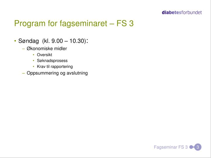Program for fagseminaret fs 31
