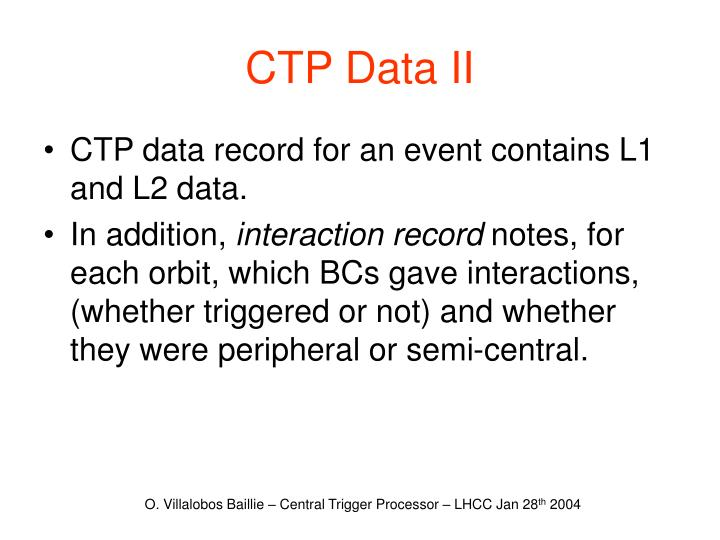 CTP Data II