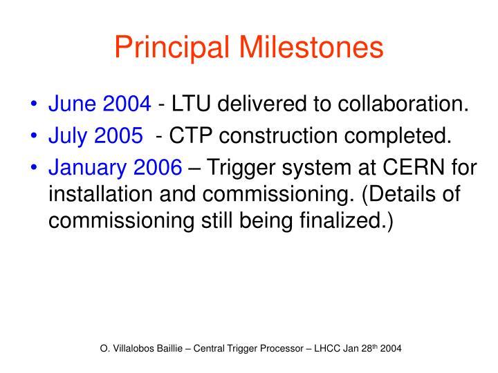 Principal Milestones