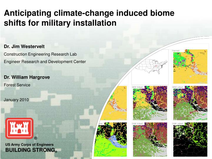 Anticipating climate change induced biome shifts for military installation