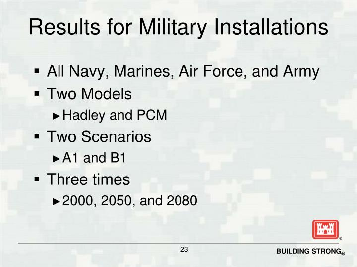 Results for Military Installations