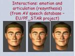 interactions emotion and articulation resynthesis from av speech database eu pf star project