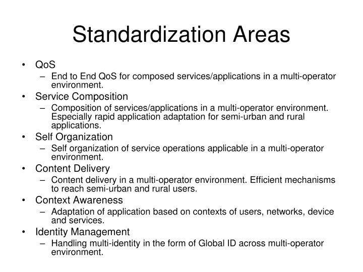 Standardization Areas