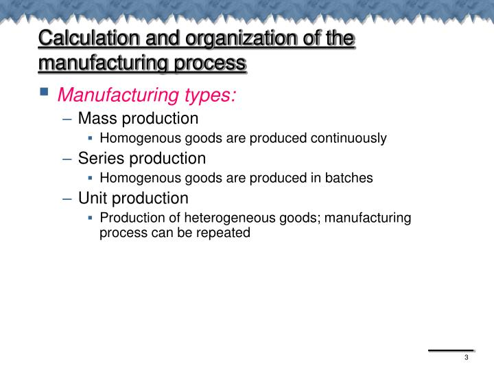 Calculation and organization of the manufacturing process