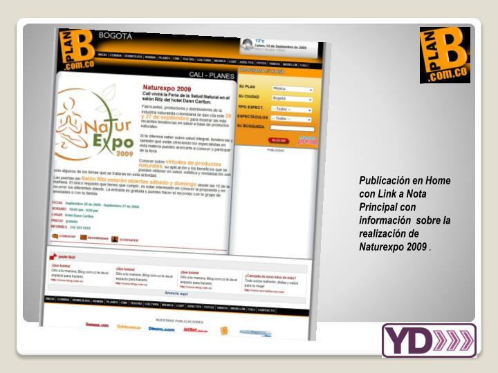 Publicación en Home con Link a Nota Principal con información  sobre la realización de Naturexpo 2009