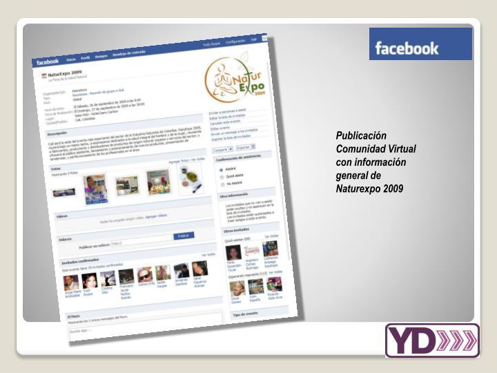 Publicación Comunidad Virtual con información general de Naturexpo 2009