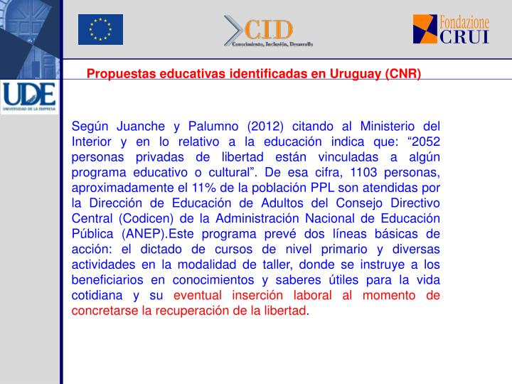 Propuestas educativas identificadas en Uruguay (CNR)