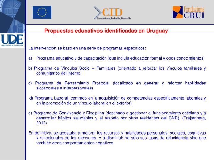 Propuestas educativos identificadas en Uruguay