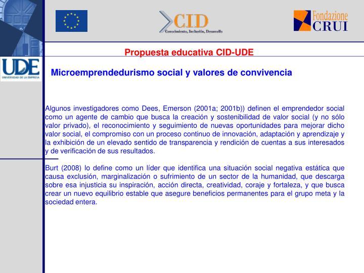 Propuesta educativa CID-UDE