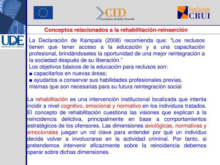 Conceptos relacionados a la rehabilitación-reinserción