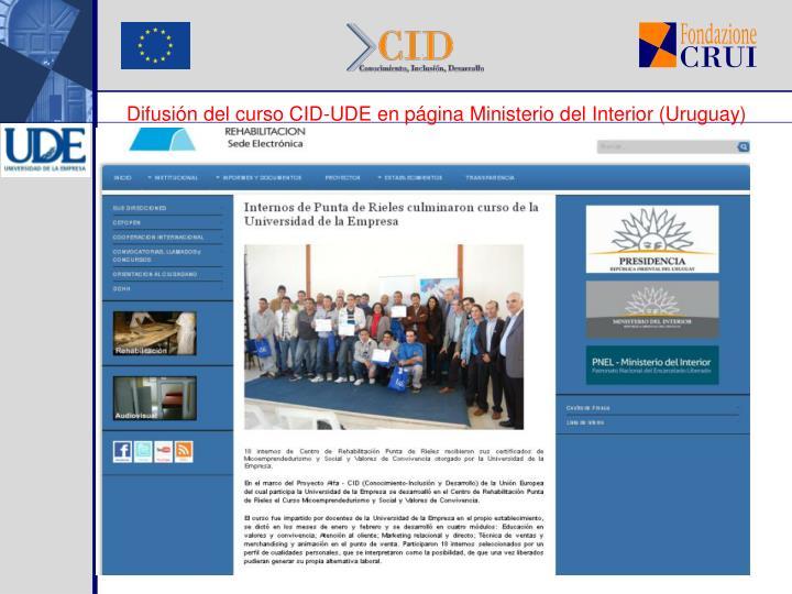 Difusión del curso CID-UDE en página Ministerio del Interior (Uruguay)