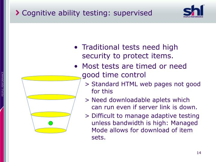 Cognitive ability testing: supervised
