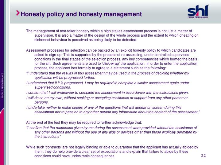 Honesty policy and honesty management