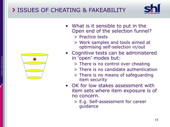 ISSUES OF CHEATING & FAKEABILITY