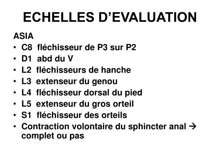 ECHELLES D'EVALUATION