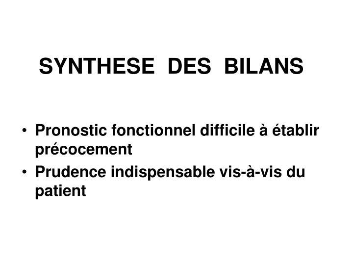 SYNTHESE  DES  BILANS