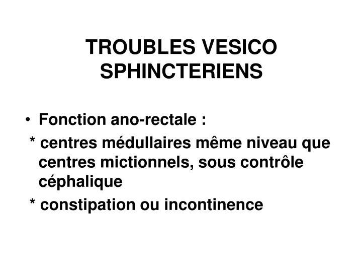 TROUBLES VESICO  SPHINCTERIENS