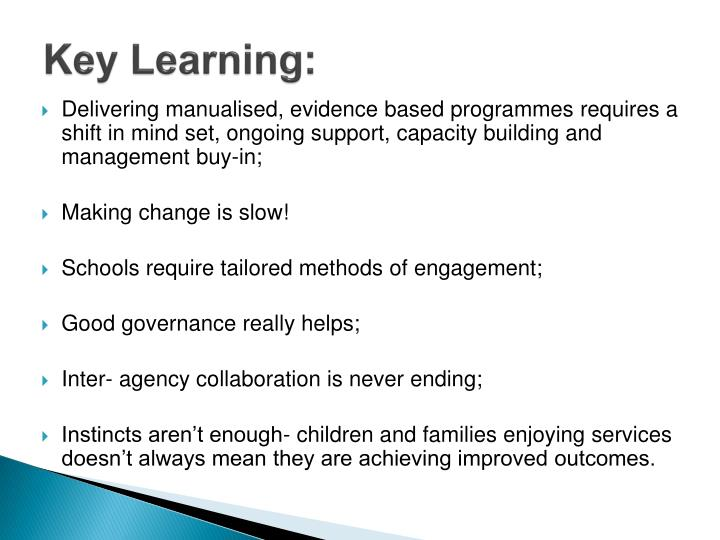 Key Learning: