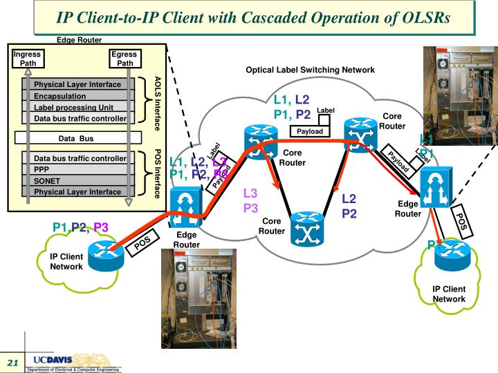 IP Client-to-IP Client with Cascaded Operation of OLSRs