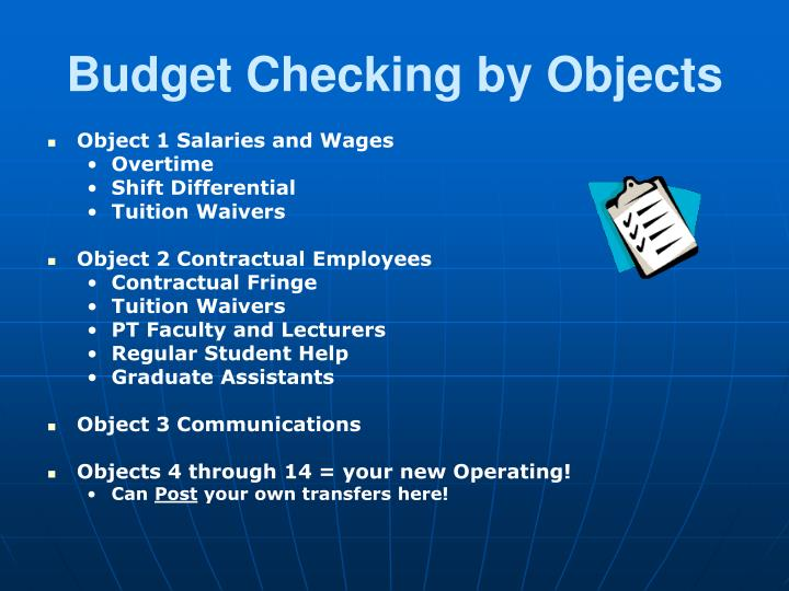 Budget Checking by Objects