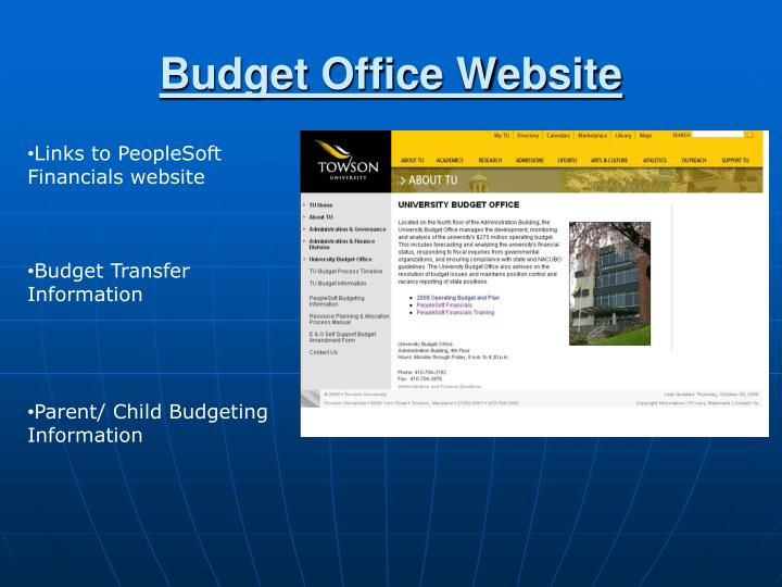 Budget Office Website