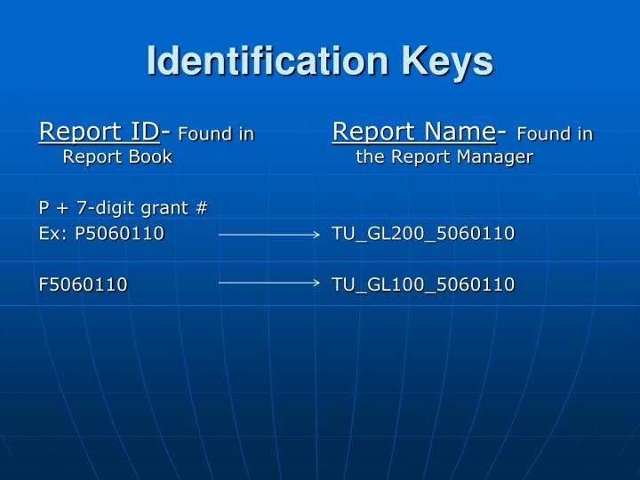 Identification Keys