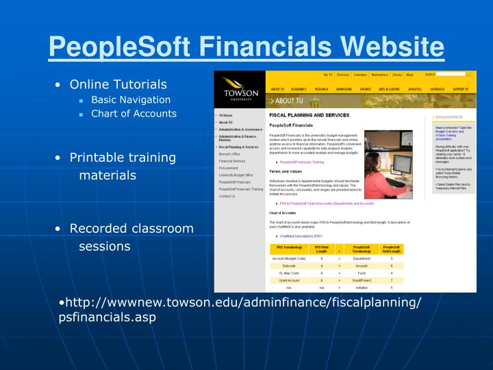 Peoplesoft financials website