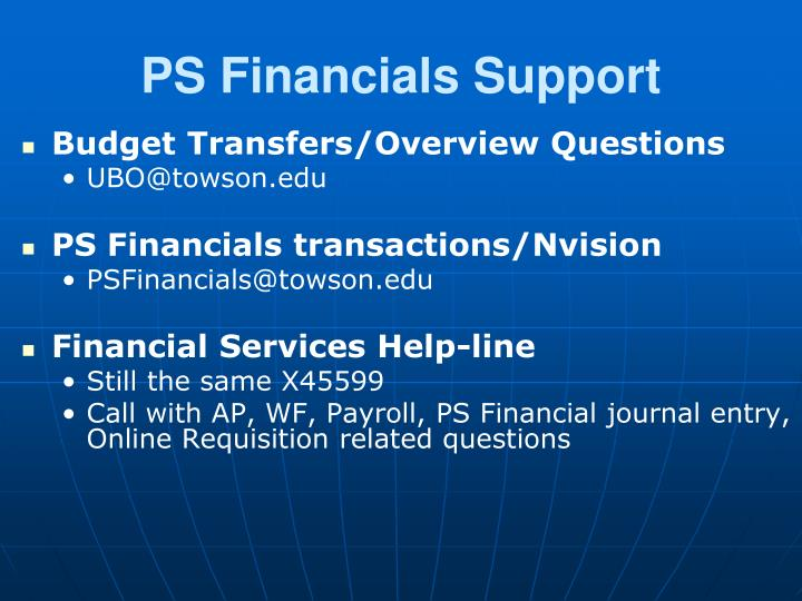 PS Financials Support