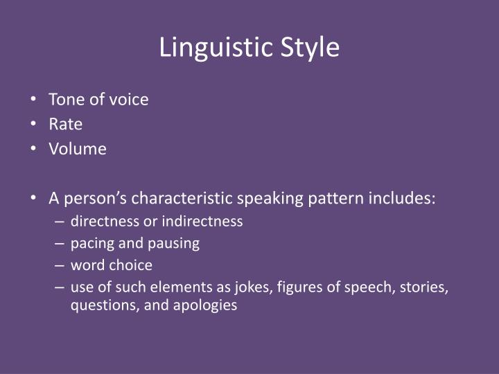 Linguistic Style
