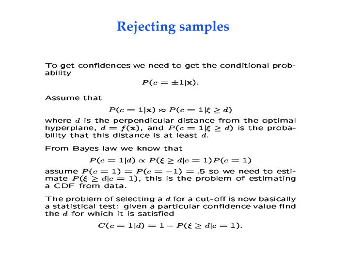 Rejecting samples