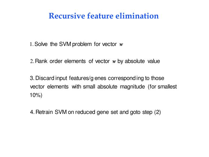 Recursive feature elimination