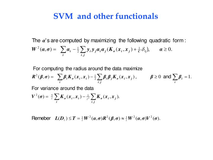 SVM  and other functionals