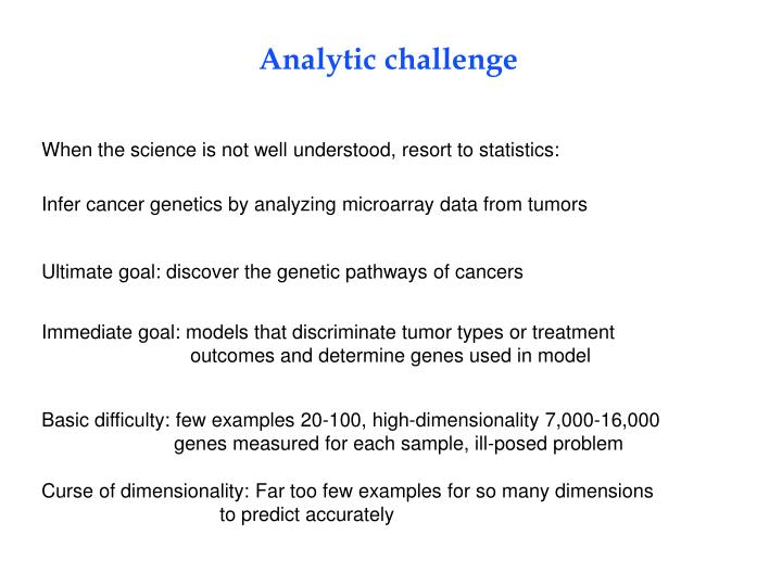 Analytic challenge