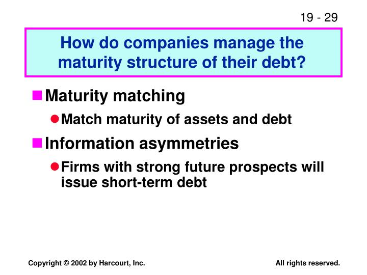 How do companies manage the maturity structure of their debt?