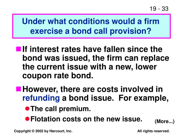 Under what conditions would a firm exercise a bond call provision?